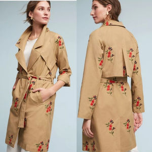 NWT CARTONNIER Embroidered Floral Trench